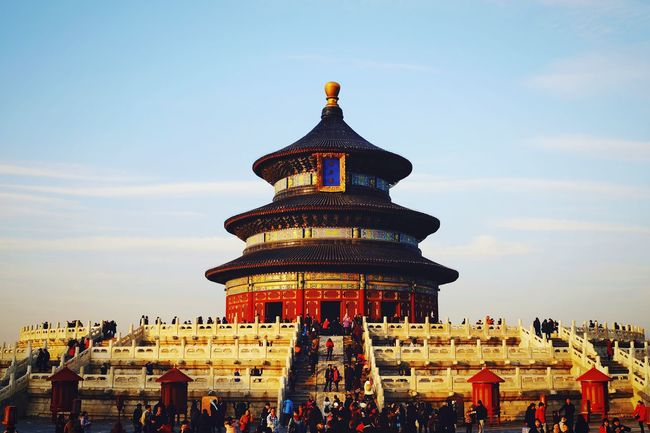 Architecture Travel Destinations History Ancient Large Group Of People Religion Sky Cultures Ancient Civilization Travel Tourism Built Structure Place Of Worship Palace Building Exterior Cloud - Sky Outdoors Sunset People Day Old Architecture Beijing, China FUJIFILM X-T10 Temple Of Heaven Park Warm Winter