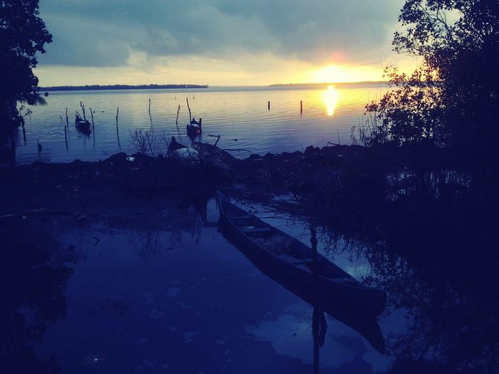Country boat and backwater Sunset Water Reflection Nature First Eyeem Photo