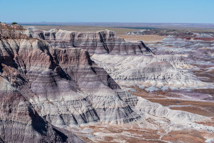 Purple and white striped badlands at blue mesa in petrified forest national park in arizona