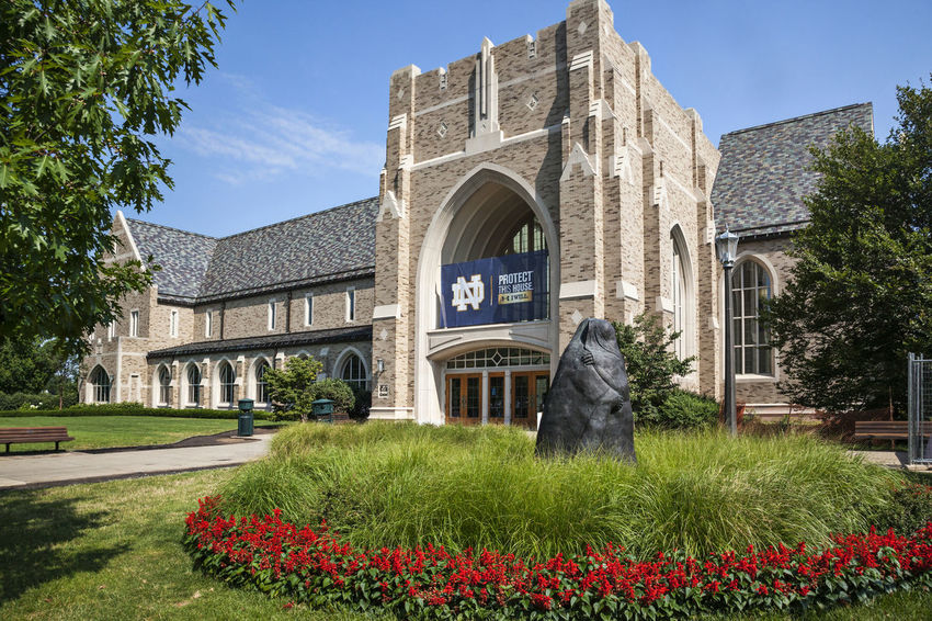 University of Notre Dame USA Color Blue Sky Christian Culture Education Green Knowledge Lawn Religion Science And Technology Sunny Day Vertical Composition Green Grass Horizontal Composition Tree Famous Teaching Building University Of Notre Dame USA