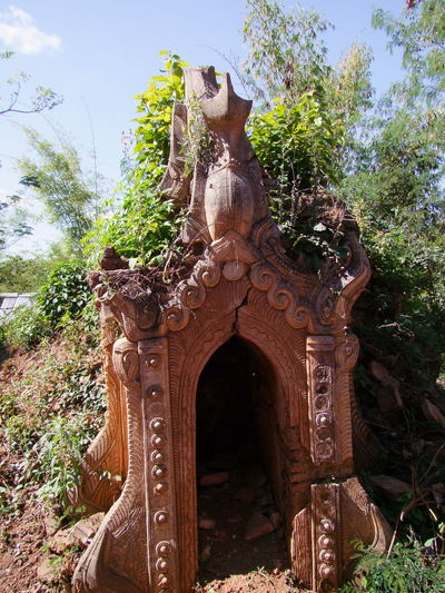 Overgrown Ancient Stupa (11th to 13th century) - one of 5,257 stupa in this site Ancient Civilization Ancient Ruins Ancient Stupa Blue Sky White Clouds Buddhist Architecture Buddhist Religion Buddhist Stupa Composition Full Frame Inle Lake Kakku Myanmar Ornate Design Outdoor Photography Overgrowth Place To Worship Religion Shan State Stucco Stupa Sunlight And Shadow Tourism Tourist Attraction  Tourist Destination Tree