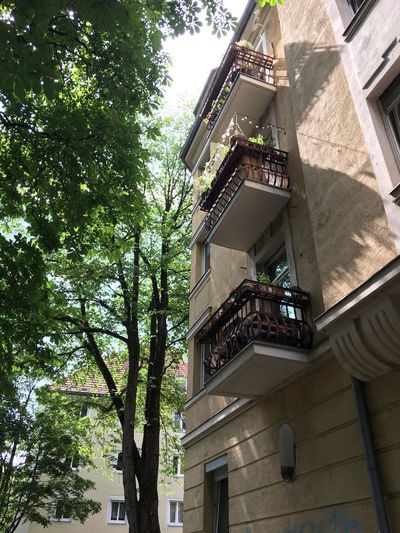 Haus, Fassade, Balkon, München, Architecture Building Exterior Built Structure Building Tree Low Angle View Plant City Outdoors Sunlight Balcony House Residential District