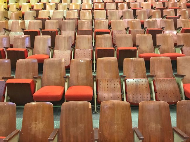 In A Row Seat Chair Empty Full Frame Auditorium Backgrounds Indoors  No People Day Lecture Hall