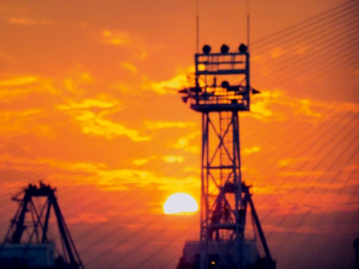The moment of sunset Container Harbour Offshore Platform Sunset Industry Silhouette Orange Color Sky Architecture