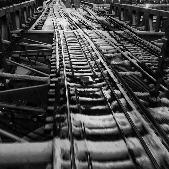 Scenes from the l CTA Chicago Train Tracks Tracks Train Streetphotography Blackandwhite Snow Winter Transportation No People Indoors  Day