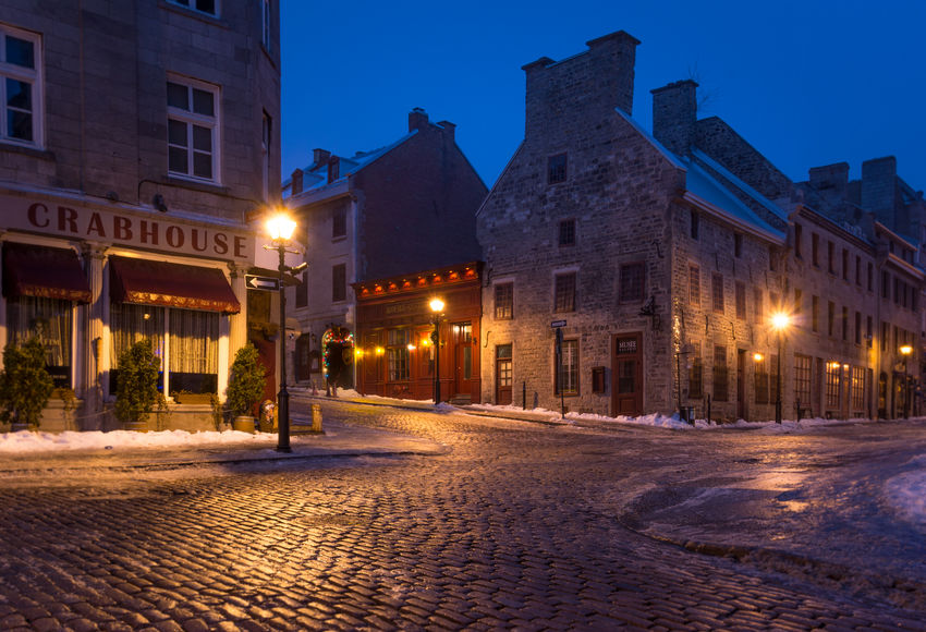 Old Montreal in Winter Architecture Blue Hour Building Building Exterior Built Structure City City Street Cold Famous Place Freeze Historic Lens Flare Macadam Montréal Old Montreal Outdoors Residential Building Street Street Light Travel Winter