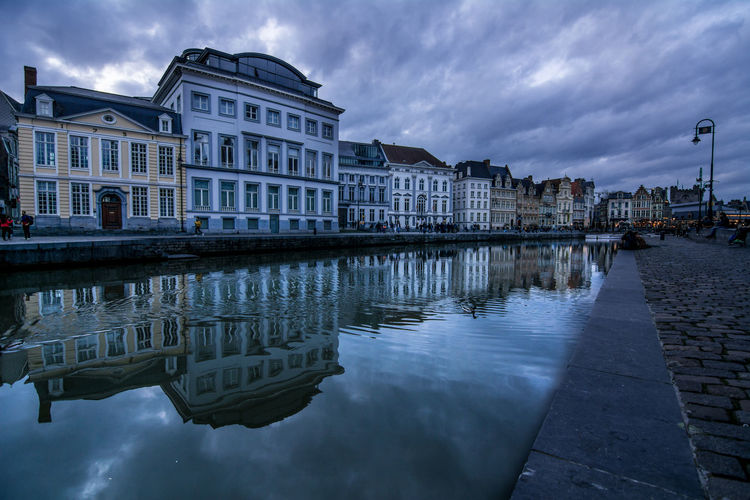 Architecture Water Reflection Building Exterior Built Structure Cloud - Sky City Building Sky Residential District No People House Travel Destinations Canal Belgium Waterfront Gent Twilight Moody Sky