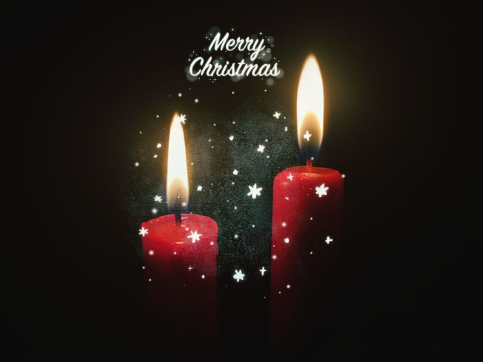 🌟 Merry Christmas! 🌟 Glædelig jul! 🌟 Fröhliche Weihnachten! 🌟 MerryChristmas Christmas Lights Christmastime Xmas Black Background Illuminated Flame Red Burning Candle Glowing Candlelight