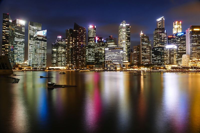 City Nightphotography Long Exposure Night Lights Marina Bay Sands Marina Bay Singapore