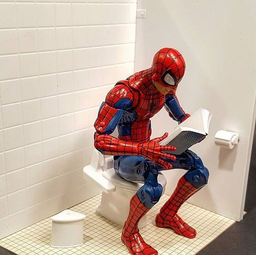 Here's a shot of me putting it to the test. Yup... works great. Spiderman Actionfigure Actionfigurephotography Toys Toyphotography Onetwelfthscale Toilet Modelkit Model Marvellegends Toilethumor Funny Toyhumor