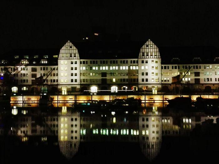 Tempelhof Tempelhofer Hafen Berlin Berlin At Night Berlin Nacht City Citylights Reflection River Riverside