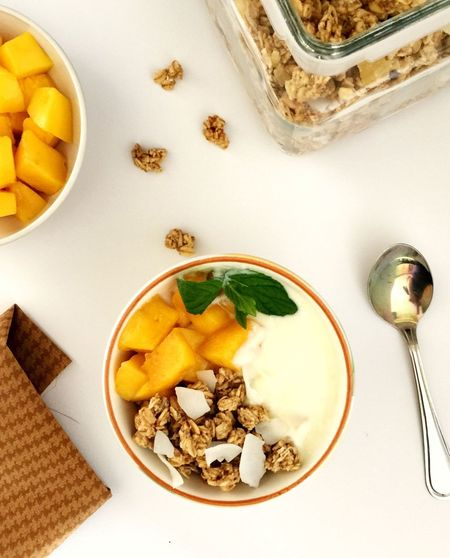 Breakfast Being Creative. Tropical Fruit Granola Mangoes Superfoodsuperboost Ready-to-eat Mango Vitamins Vitality Serving Size Superfood Healthy Food Healthy Eating Healthy Start On The Table Morning
