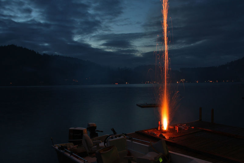Capturing Movement Celebration Cloud - Sky Dock Explosion Explosive Firework Fireworks Fun Good Times Illuminated Independence Lake Lake View Long Exposure Mode Of Transport Moored Motion Nautical Vessel Night Sky Sparks Sparks Fly Transportation Water