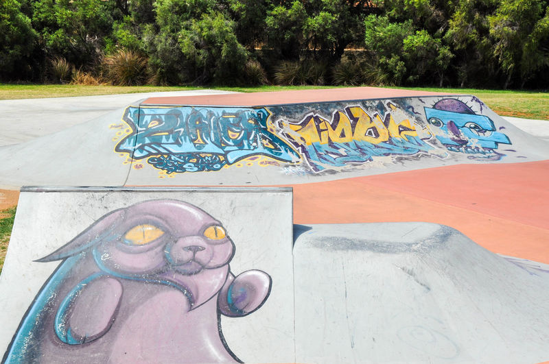 Concrete skatepark with murals, urban art and ramps at the Spearwood Skate Park in Western Australia. Art And Craft Concrete Creativity Creativity Day Drawing - Art Product Graffiti Leisure Activity Multi Colored Mural Outdoors Park Playground Rails Ramps Recreation  Skateboard Park Skatepark Spearwood Spine Urban Visual Statements Western Australia Youth Youth Culture