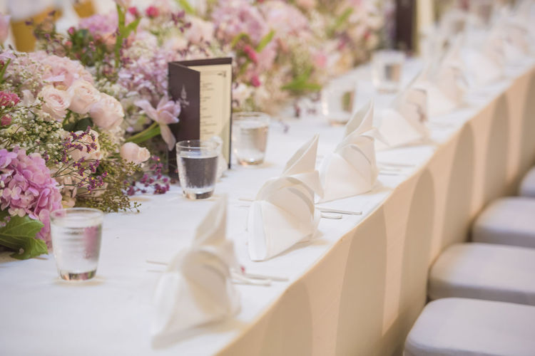 View of wedding reception table
