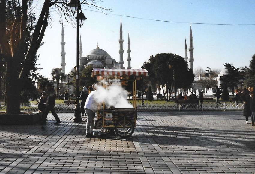 Classic // Istanbul, Turkey 35mm Istanbul Architecture Building Exterior Built Structure City Day History Men Mosque Outdoors People Portra400 Real People Shoot Film Sky Smoke - Physical Structure Travel Tree