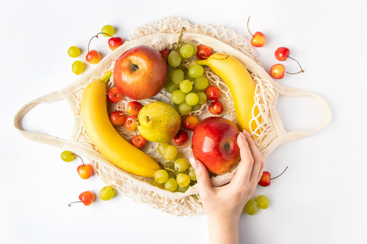 High angle view of apples in plate