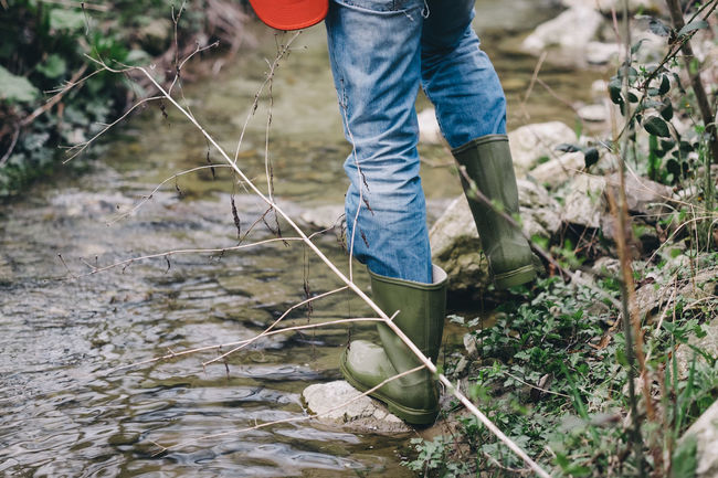 Jeans Man Nature Casual Clothing Legs Mud Outdoor Outdoors River Rubber Boots Walking Water