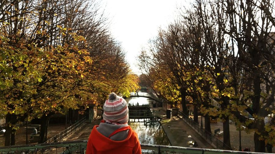 Canal Bridge View Child One Child From Behind... Canal Saint-Martin Golden Trees Reflections