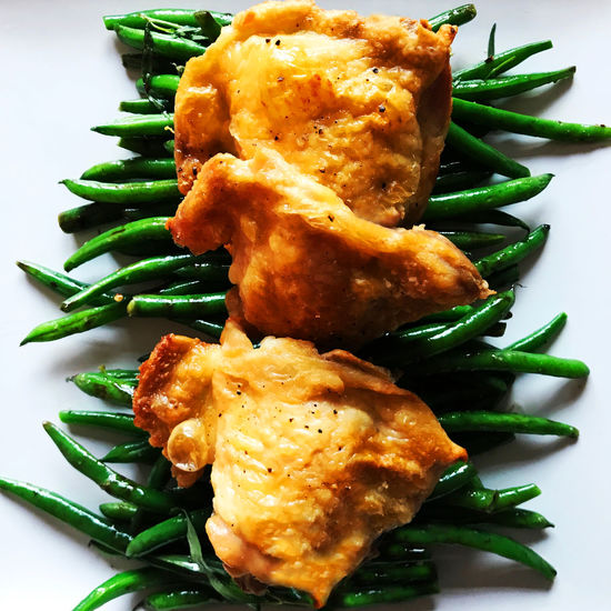 Chicken and Green Geans Green Green Beans Bean Chicken Thighs Close-up Dinner Food Freshness Green Bean Healthy Eating Healthy Food Meal Meat Plate Serving Size Still Life Vegetable Wellbeing White Plate