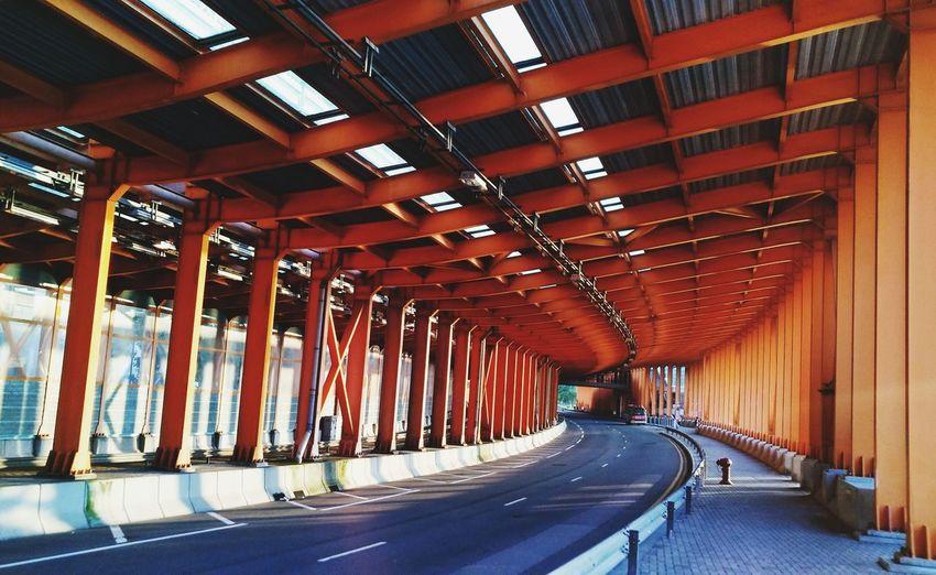 Empty bridge in city