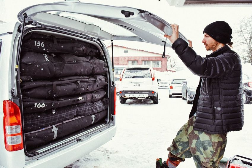 Beautifully Organized Six loaded snowboard bags in the back of the van, couldn't have organized it any better! Japan Snowboarding Roadtrip Winter Travelbags DurableGoods