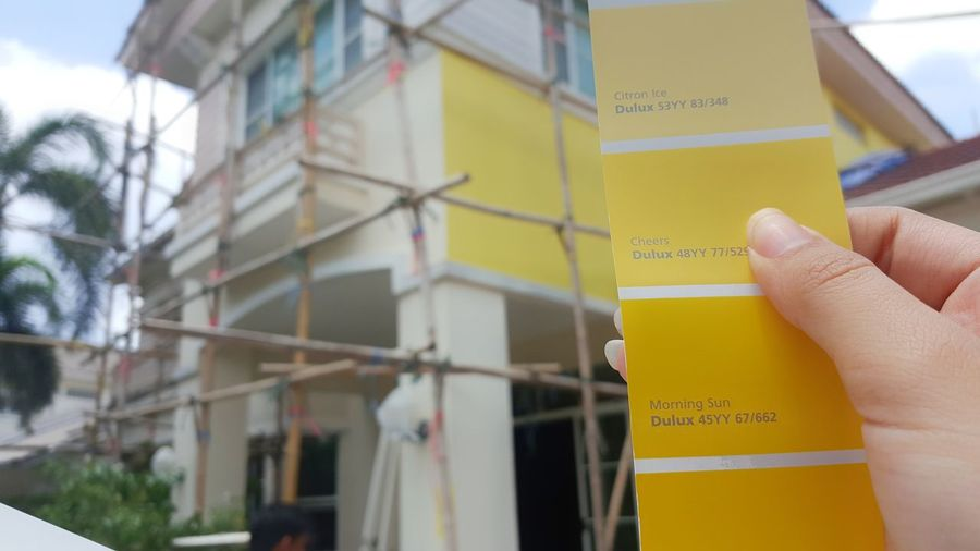 Human Hand Yellow Built Structure Building Exterior Compare Contrast Color  Architecture Colour Pallette Design Decoration Wall Paintings Wall Painting Painting Paint DuluxVizualizer DuluxVisualizerContest DULUX Fandeck Wall - Building Feature Yellow Background Colorful Yellow Color Color Construction Construction Site