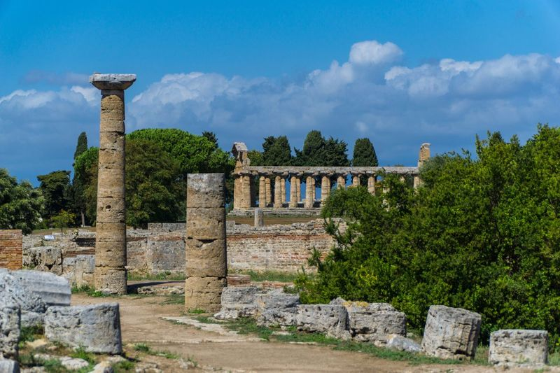 Paestum Roman ruins, Italy Roman Ruins Architecture Built Structure History Sky The Past Plant Cloud - Sky Wall Travel Destinations Building Exterior Architectural Column Ancient Nature Old Ruin Old Outdoors No People Tree Travel Stone Wall