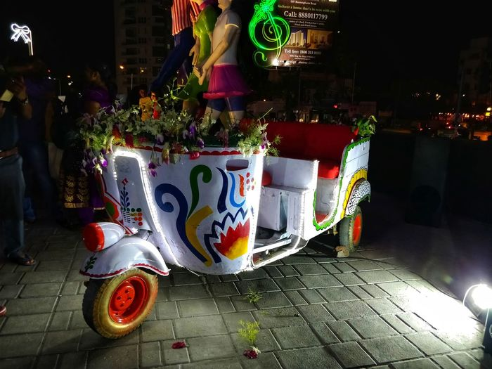 Auto rickshaw decorated at one of the prestigious mall. #lowlightphotography #MobilePhotography #Lowlight #nightshot #autorickshaw Night Illuminated No People Outdoors