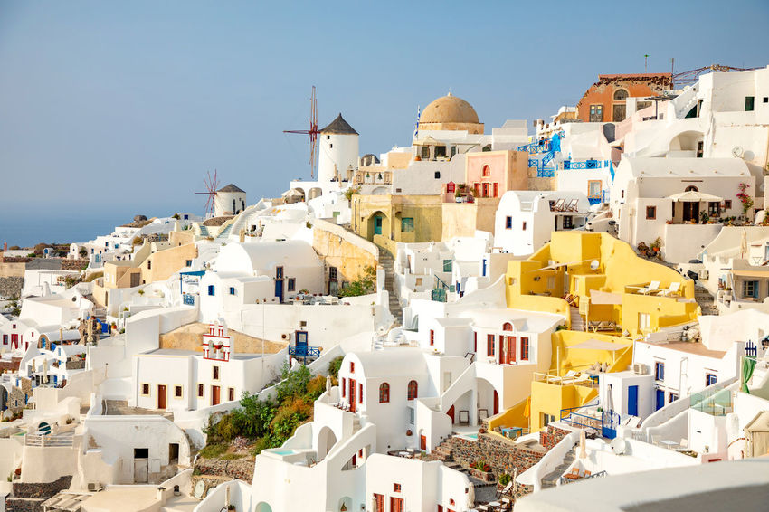 Greece Santorini Oia Thira Building Exterior Architecture Built Structure Building Residential District City Sky Nature Town House Day Crowded Crowd Sunlight Community Clear Sky TOWNSCAPE Place Of Worship Outdoors