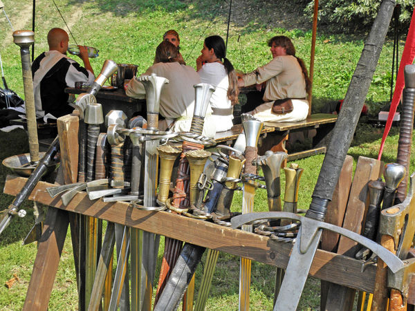 Renaissance Festival,Koprivnica 2016, collection of swords, 28 Annual Collection Craftmanship Croatia Day Eu Europe Event Fair Hand-made Koprivnica Medieval Outdoors Renaissance Festival Sitting Summer Swords Traditional Weapons