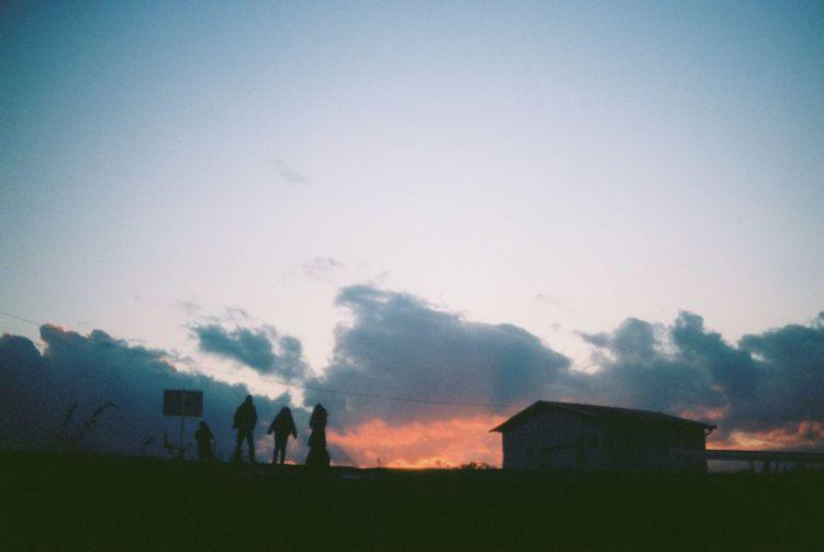 35mm Film Film Blue Sky Sunset Winter Light And Shadow