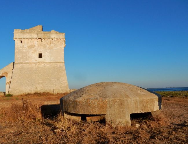 Salento Puglia Torre Squillace Ancient Architecture Blue Building Exterior Built Structure Casamatta Castle Clear Sky Day Difensiva Field Fort Fortificazione Fortino History Land Nature No People Old Outdoors Sky The Past Torre