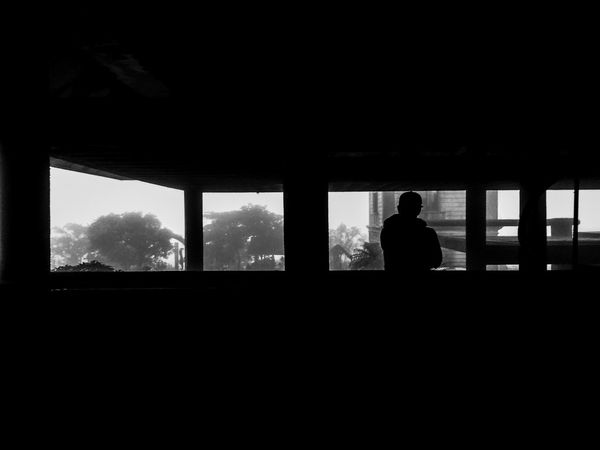 Let the light lead you... Silhouette Looking Through Window One Person Kulotitay Clicks Eyeem Philippines Mobile Photography Mobile Global Shooters Black And White Collection  Black & White Photography