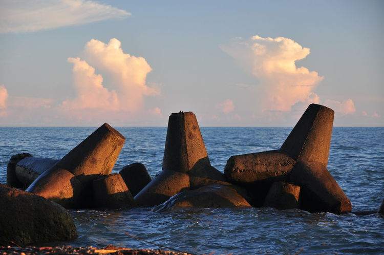 Sea Sky Breakwaters Seascape Abkhazia Black Sea