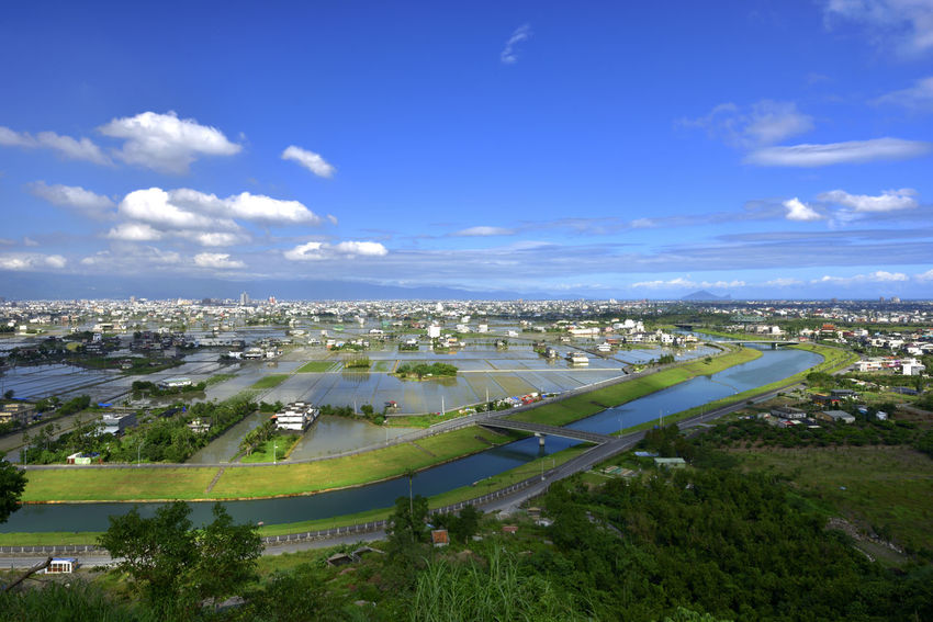 Plain rural scenery, broad and beautiful, fresh and natural. Farmland Ilan Natural Taiwan Airplane Architecture Blue Sky And White Clouds Building Exterior Built Structure City Cityscape Cloud - Sky Countryside Day Fresh High Angle View Lanyang Plain Nature No People Outdoors River Sky Tree Turtle Island Water