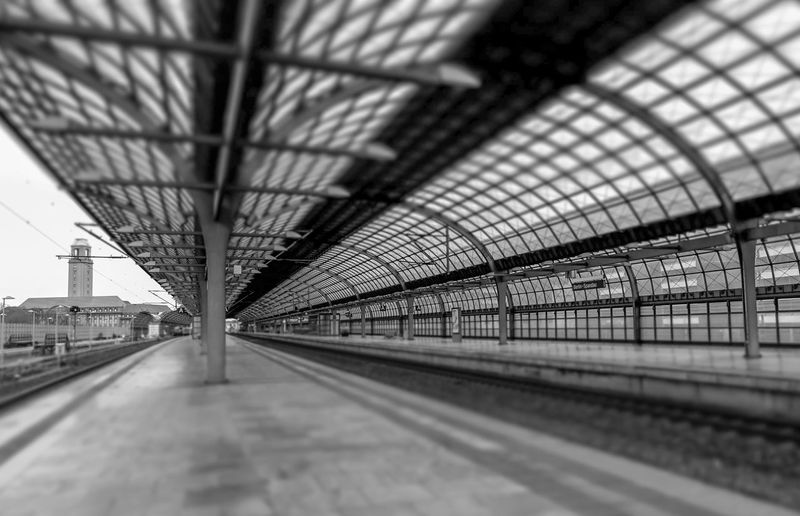 Black And White Black & White Street Photography Spandau Tilt-shift Transportation Architecture Rail Transportation Indoors  Built Structure Railroad Station Platform Mode Of Transportation Railroad Station The Way Forward Diminishing Perspective Direction Public Transportation Track Railroad Track No People Empty Ceiling Travel Train Selective Focus