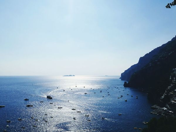 Sea Horizon Over Water Beach Blue Water Sky Outdoors Nature Day Scenics Beauty In Nature Wave Rock - Object No People Amalfi Coast Positano Positano, Italy Boats Sea And Sky Sealife