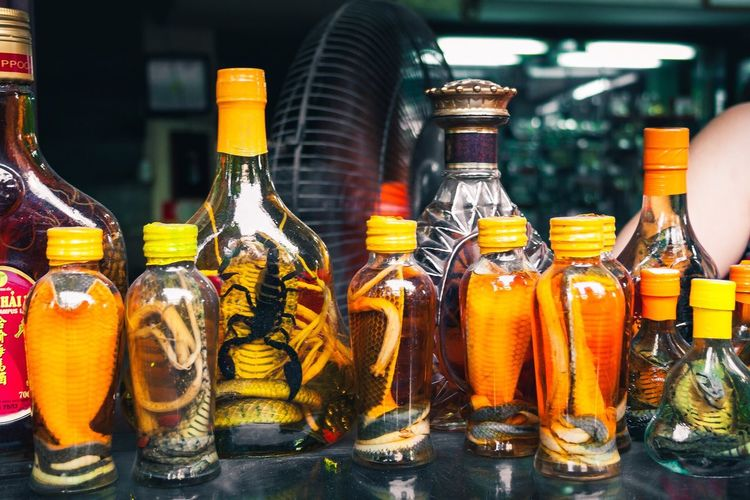 Bottle Variation Indoors  Drink Food And Drink Choice Jar Olive Oil Shelf Retail  Alcohol No People Day Food Close-up Freshness Snake Oil Cobra Scorpion Cure Hanoi Souvenir
