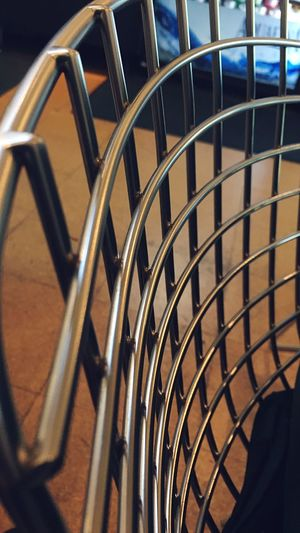 Close-up of metallic railings