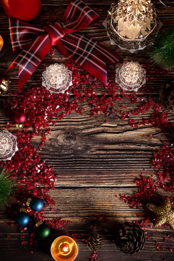 Christmas Holiday Celebration Decoration Red Christmas Decoration christmas tree Tree Christmas Ornament Holiday - Event Indoors  No People Directly Above Wood - Material Gift Celebration Event Still Life Event