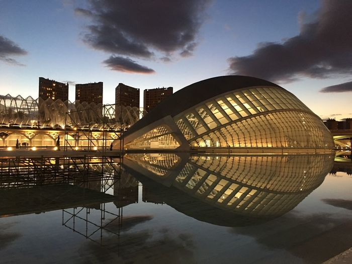 #calatrava #Valencia#Ciudad D Las Artes Y Las Ciencias Architecture City Cloud - Sky No People Outdoors Reflection Sky Travel Destinations Urban Skyline Water First Eyeem Photo