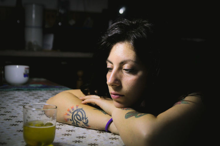 Drink Portrait Beautiful Woman Happy Hour Headshot Drinking Glass Drinking Close-up Thoughtful Introspection Thinking Pensive Tattoo Pretty Blank Expression Eyelid Boredom Day Dreaming Contemplation Lotus Position