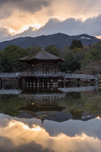 浮見堂 奈良公園 Japan Nara Park Sunrise Early Morning Cold Temperature Nara Mountain Water Tree Reflection Architecture Sky Landscape Mountain Range Winter Cold Reflection Lake