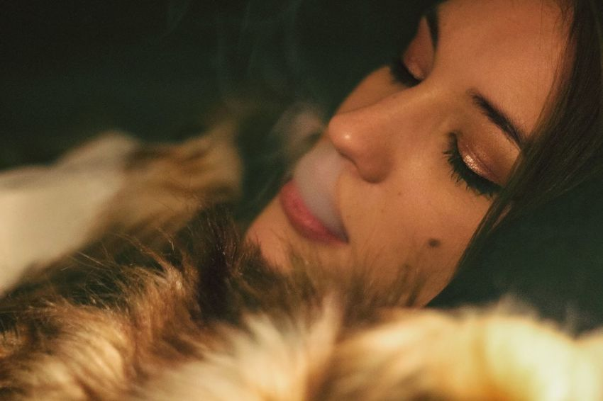 Girl Smoking Smoking Smoke One Person Eyes Closed  Young Adult Real People Indoors  Young Women Lifestyles Relaxation Close-up Beautiful Woman Women Day People