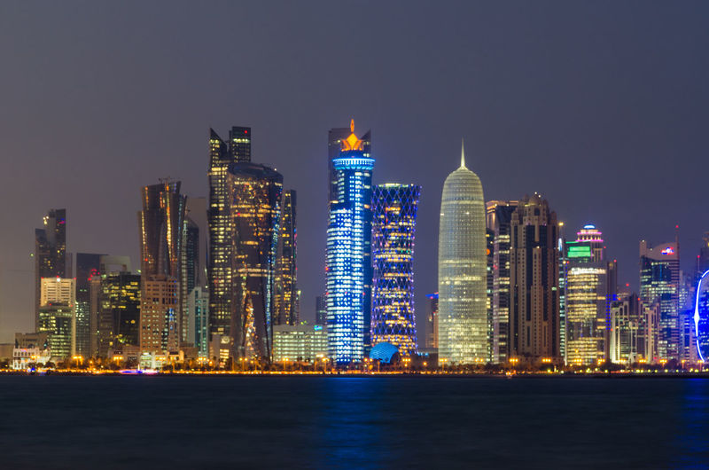 Doha City at night Doha Qatar Middle East Building Built Structure Architecture Night Panoramic Office Building Urban Sprawl District Skyline Tall - High Financial District  Tower
