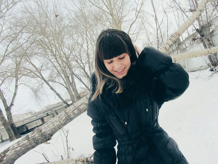 Winter Snow Cold Temperature One Person Only Women One Woman Only Day Beauty In Nature Nature Happiness Snowing People Teenager Teengirl Winter Sky