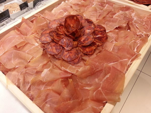 Flowers & Food Cheese Ham Plates Salami Sausage Tomatoes Vegetables