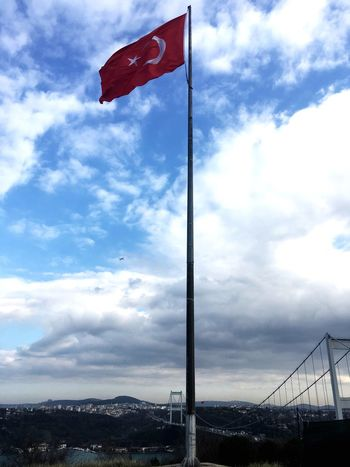 Bosphorus Sky Cloud - Sky Flag Patriotism Low Angle View No People Day Outdoors Nature Mountain Architecture bosphorus Istanbul Carnival Crowds And Details EyeEmNewHere