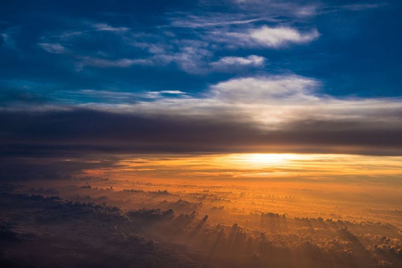 Heaven and hell Landscape Aviation Contrast Dusk Dawn Hell Heaven Cloud - Sky Sky Beauty In Nature Sunset Scenics - Nature Tranquility Tranquil Scene Nature Orange Color Cloudscape Dramatic Sky No People Environment Outdoors Aerial View Idyllic